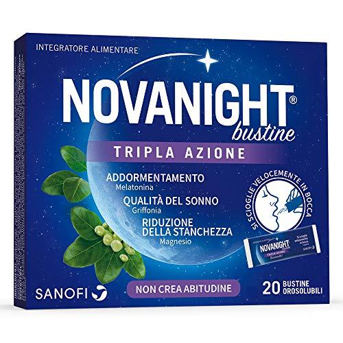 Novanight Bustine Tripla Azione Integratore alimentare con melatonina, griffonia e Magnesio, si scioglie velocemente in bocca. Senz'acqua - 20 bustine orosolubili