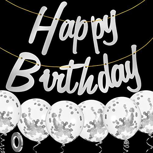 Décorations de Joyeux Anniversaire Bannière Banderoles d'anniversaire avec 6 Ballons de Confettis et Ruban de Ballon Fournitures de Fête pour Femmes et Filles (Argent)