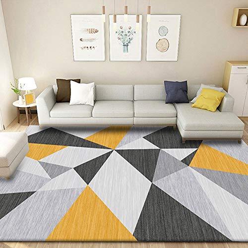 OUUED Sofá Europeo Cama de té Alfombra geométrica Alfombra Sala de Estar Moderna Simple no resbalón Lleno de alfombras comerciales domésticas 160 * 230 cm (Color : Yellow Grid)