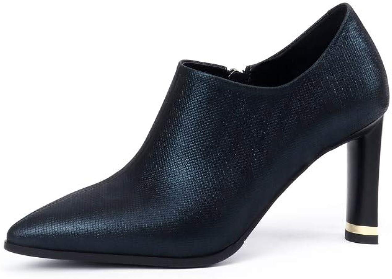 Nine Seven Women's Genuine Leather Pointed Toe High Heel Handmade Elegant Side Zipper Short Ankle Boots