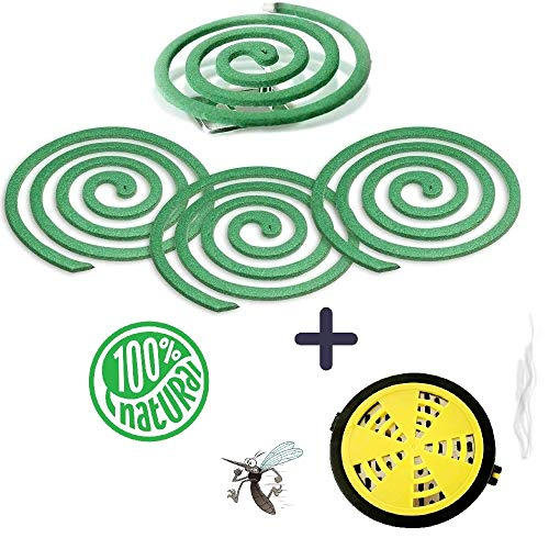 LOVHOME Mosquito Repellent Coils- Outdoor Use- Each Citronella Coil Could Last for 5-7hours - 2 Pack Contains 16 coils & 2 Coil Stands & 1 Portable Coil Holder