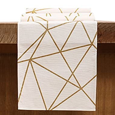 ling's moment Geometric-Inspired White and Gold Table Runner for Morden & Stylish Wedding Holiday Party Decor, 100% Cotton 12 x 72 Inches