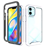 iEugen Compatible with iPhone 12 & iPhone 12 Pro Case Transparent Clear Anti-Yellowing,Anti-Slick Slim Shockproof Bumper Cover Heavy Duty Protection 3 Layer Hybrid Cover,Women Girls,Men-White