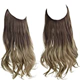 Synthetic Halo Hair Extension Ombre Brown to Ash Blonde Curly Short Hairpiece 14 Inch 3.7 Oz Hidden Wire Headband for Women Heat Resistant Fiber No Clip SARLA(M04&8T16)