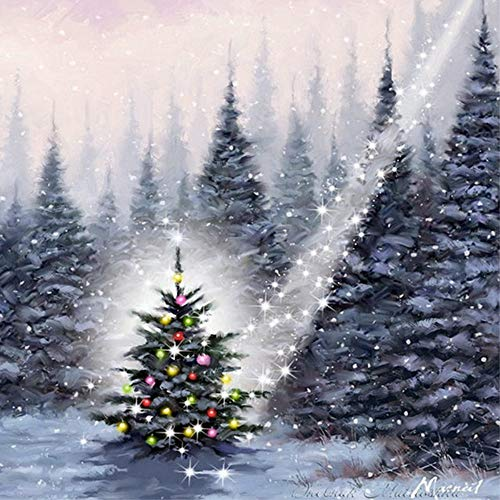 Diamond Painting by Number Kit, LPRTALK 5D DIY Diamond Painting Full Round Drill Beautiful Christmas Tree Embroidery for Wall Decoration 12X12 inches