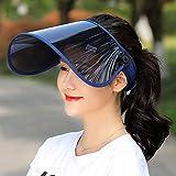 サンバイザー LightYou レディース レインハット 360°可動式 帽子 レインバイザー 自転車 キャップ UVカット UPF50+ 紫外線対策 日焼け対策 つば広 ワイド 男女兼用 通学 通勤 旅行用 超軽量 (ネービー)