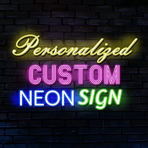 Personalizado letrero de neón luminoso LED para pared, Letrero de luces de neón grande personalizado para boda, Fiesta de cumpleaños, Bar, Cuarto, Decoración hogareña (Texto de 1 línea, 66cm)