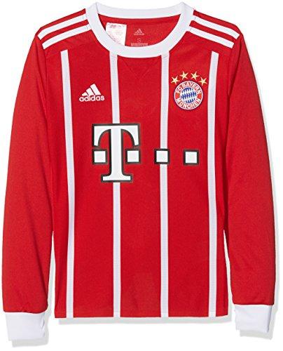 adidas FC Bayern München Home Replica Jersey Longsleeve Youth 2017/18 Camiseta de equipación-Línea Munich, niños, Rojo (rojfcb/Blanco), 176