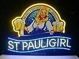 Queen Sense 14'x10' St Paulis Girls Neon Sign Light Beer Bar Pub Man Cave Real Glass Lamp DE70