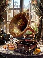 デジタルキットによるデジタル油絵蓄音機大人初心者絵画キッズリネンキャンバスデジタル油絵キャンバス壁アートワーク