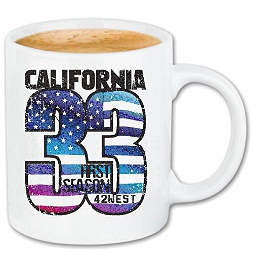 Reifen-Markt Kaffeetasse California 33 Amerika VEREINIGTE Staaten US Flagge USA Amerikaner AMERIKANERINNEN Keramik 330 ml in Weiß
