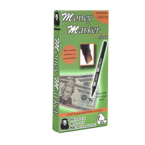 Money Marker (5 Counterfeit Pens) - Counterfeit Bill Detector Pen with Upgraded Chisel Tip - Detect Fake Counterfit Bills, Universal False Currency Pen Detector Pack