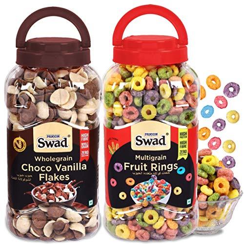 Swad Fruit Rings Choco Vanilla Flakes Combo Of 2 Jars (High Fibree Chocos Fruit Loops Cereals) Jar 630 G