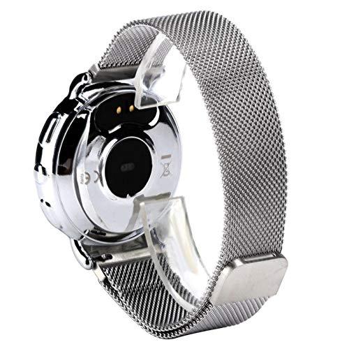 DAUERHAFT Herzfrequenzmesser Armband 0,96 Zoll Touchscreen Smart Armband Schweißfest, für Bergsteiger(Silver Metal case + Silver Milan Strap)