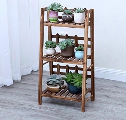 ZHDC® Porte-fleurs, balcon en bois massif salon Chute sur le terrain mobile étagère étagère à fleurs Multi-clôture 3 couches couleur carbonisée Stable fort espace de sauvegarde ( taille : 50*31*93cm )