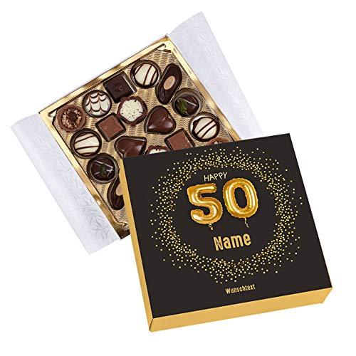 Herz & Heim® Lindt Pralinen zum 50. Geburtstag mit Namen und Glückwunschtext