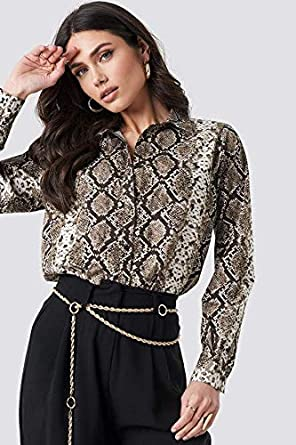 Misakia Womens Button Down Shirts Long Sleeve Printed Collared Tops Slim Fit Dress Shirts with Pockets