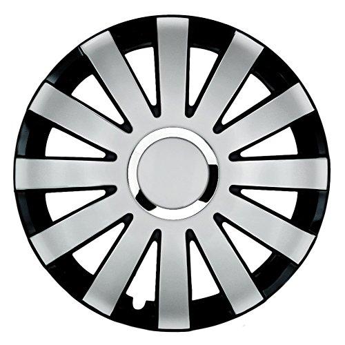 CM Design 15 inch bicolor wieldoppen Onyx (zilver/zwart met chromen ring). Wieldoppen geschikt voor bijna alle Ford zoals Fiesta MK3