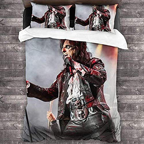 HUA JIE Quilt Sets Metal Music 3 Piece Bedding Set Super Soft Warm Duvet Cover (2 Pillowcases for Bedroom Guest Room 4