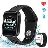 obqo Fitness-Tracker, Schrittzähler, Armbanduhr mit Herzfrequenz, Blutdruckmessgerät, Schlafüberwachung, Smart-Benachrichtigung, IP67, Aktivitätstracker für Damen und Herren mit Android iOS
