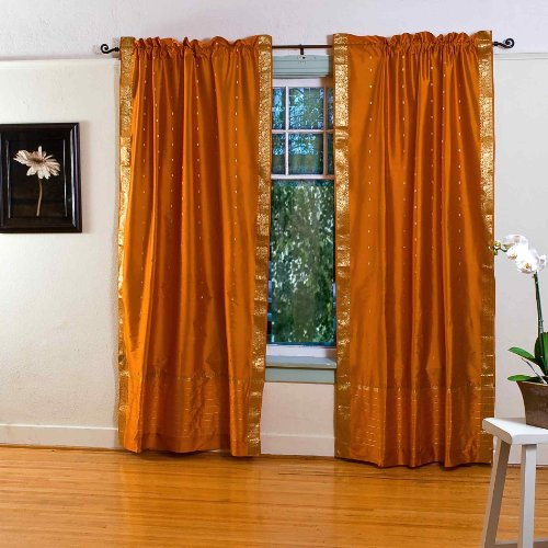 Indian Selections Senf Gelb Rod Pocket Sheer Sari Vorhang/Tuch/Panel–Stück, Polyester, Gelb, 43 X 84 Inches