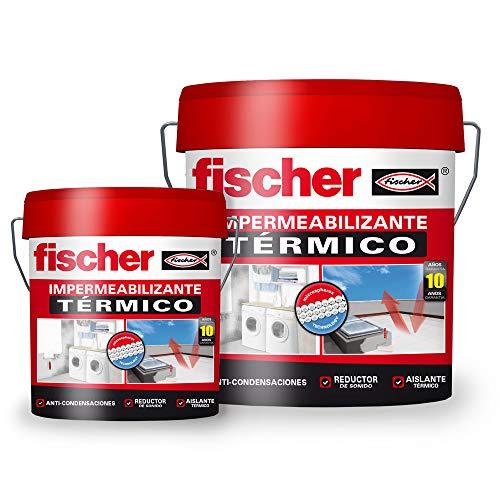 fischer – Impermeabilizante térmico (cubo de 15 l) con base polímero líquido y resina acrílica de gran calidad, aplicable sobre techos, con propiedades termo-aislantes, resistente al agua