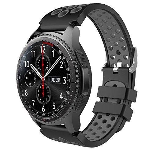 MoKo Armband Kompatibel mit Huawei Watch GT 2 46mm/Samsung Gear S3 Frontier/S3 Classic/Galaxy Watch 46mm, 22mm Silikon Uhr Band Erstatzband Uhrenarmband, Schwarz & Grau (Nicht für Gear S2 Classic)
