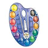 Morocolor PRIMO, acuarelas para niños en colores pastel, paleta de acuarela de 12 colores, tabletas de acuarela de pigmento de Ø 25 mm de alto, colores brillantes y brillantes, Made in Italy