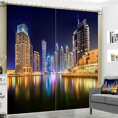 HomeAZWQ Blickdicht Gardinen Für Schlafzimmer Thermogardinen Vorhang Blickdicht Nacht, Gebäude, See H215 X W320Cm