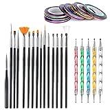 50 pezzi set di strumenti per la progettazione di nail art, Sonku 15 pezzi pennelli per pi...