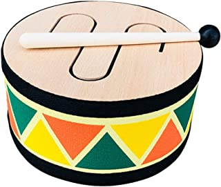 WZHZJ Kids Percussion Drum-with Three Voices Beech Wood Drum Surface Comes with 1 Drum Stick