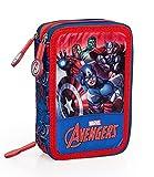 The Avengers 66324 - Estuche triple relleno, 44 accesorios escolares, 20 centímetros