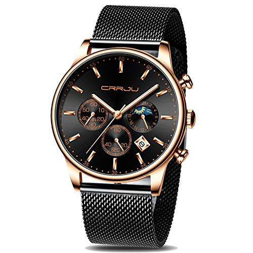 CRRJU Men's Watches Rose Gold Fashion Casual Watch for Men Sports Waterproof 3ATM Quartz Wristwatch with Mesh Strap