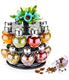 Uspech 360 Degree Revolving Round Shape Transparent Pack of 16 Jar Spice Rack | Container | Round Spice Rack