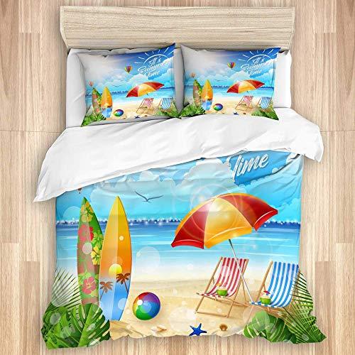 ATZTD Funda de edredón decorativa,Hermosa playa tropical con silla de tabla de surf y paraguas,Microfibra 200 x 200 con 2 fundas de almohada de 50 x 80, doble