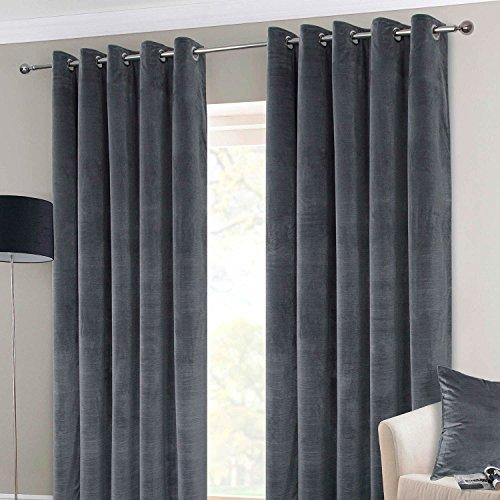 """Homescapes - Par de cortinas de terciopelo térmico interlineado de lujo de color gris, de gran peso y diseño contemporáneo,con anillas listas para colgar., Gris, Curtain Pair 66x72"""""""