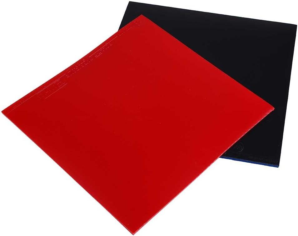 LEAMER Hoja de goma de repuesto para raqueta de tenis de mesa, funda interior de goma, placa inferior de goma de 16 x 16,5 x 0,2 cm, (2 unidades, negro y rojo)
