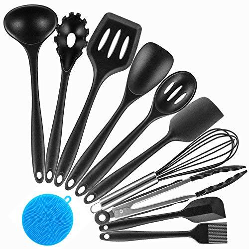 QXuan Utensili da Cucina Set in Silicone Antiaderente 10 Pezzi Professionali Cottura Kit spatola,Frusta,pennello,Cucchiai,Pinze (nero)
