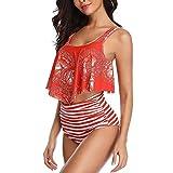 Xyanzi De Las Mujeres De Baño Bikini, Dos Piezas De Los Bañadores con Volantes Scoop Top con Trajes De Talle Alto Bikini Traje De Baño (Color : Watermelon Red)