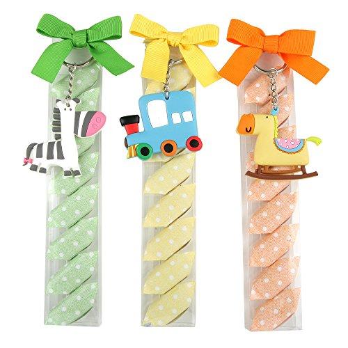 Mopec sleutelhanger in de vorm van een trek, zebra of paard in een gesorteerde doos in verschillende kleuren en met snoep, 3 stuks, meerkleurig, 2,5 x 4,5 x 20,5 cm
