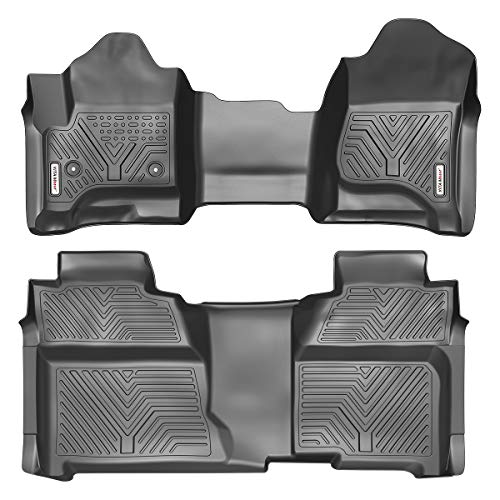 YITAMOTOR Floor Mats Compatible with 2014-2018 Silverado/Sierra 1500, 2015-2019 2500HD/3500HD Crew Cab, with 1st Row Bench Seat, Custom Fit Black TPE Floor Liners 1st & 2nd Row All-Weather Protection