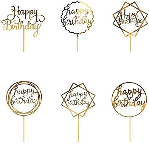 Speed Sell EU 6 Stück Acryl Cake Topper Geburtstag Gold Happy Birthday Tortendeko Geburtstagskuchen Tortenstecker Glitter Topper Kuchendekoration