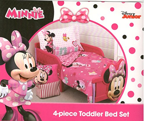 Disney Minnie Mouse Smart & Sweet 4-Piece Toddler Bedding Set - New,...