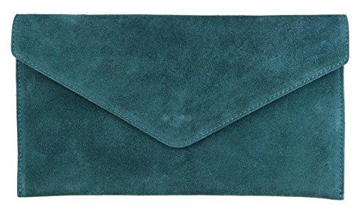 Girly Handbags Mujer Cuero de Gamuza Envelope Clutch Pulsera Piel Auténtica Rígido Bolso bandolera Verde azulado oscuro