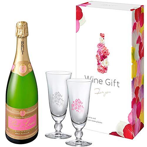 [Amazon限定ブランド] 【青山フラワーマーケットデザイン 乾杯すると12本のバラが咲くダズンローズグラス付】ポール・ルイ ペアグラスセット [ スパークリングワイン 辛口 フランス 750ml ] [ギフトBox入り]SIQOA