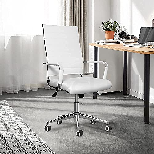 eclife Ergonomic Ribbed Leather Office Chair with Tiltable back support, Height adjustment Seat and Comfortable Armrest,Executive Modern Conference Chrome Caster wheel Computer chair