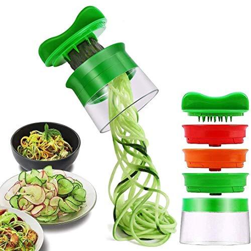 ELIRIVAWET Spiralschneider Hand für Gemüsespaghetti, 3-Klingen Gemüse Spiralschneider, Gemüsenudeln spiralschneider für Karotte, Gurke, Kartoffel,Kürbis, Zucchini, Zwiebel