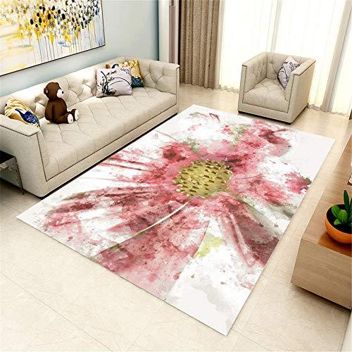 Kunsen cojin Grande Suelo Alfombra habitacion niña Alfombra de salón Rosa, Blanca, Resistente a la Humedad y al frío, Lavable alfombras Bebe 80X120CM 2ft 7.5' X3ft 11.2'