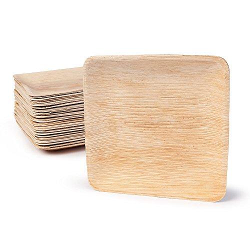 BIOZOYG DTW05359 Einwegteller aus Palmblatt, 25 Stück, eckig, 20x20 cm, kompostierbar
