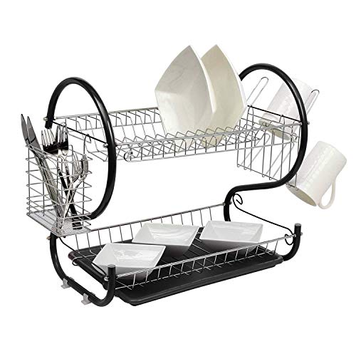 Neo Black Deluxe 2 Tier Chrome Plate Dish Cup Cutlery Drainer Rack Drip Tray Plates Holder